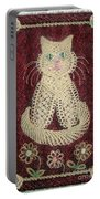 Cat And Flowers. Macrame Art Portable Battery Charger