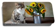 Cat And Sunflowers Portable Battery Charger