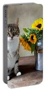 Cat And Sunflowers Portable Battery Charger by Nailia Schwarz