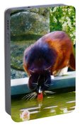Cat Drinking In Picturesque Garden Portable Battery Charger