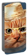 Cat Kitty Kitten In Clothes Yellow Glasses Straw Portable Battery Charger