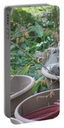 Cat Playing In Flowerpot Portable Battery Charger