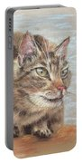 Cat Sitting On Lookout Portable Battery Charger