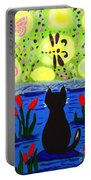Cat Tv  Watching Bugs Portable Battery Charger