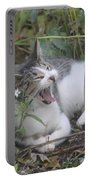 Cat Yawning In The Garden Portable Battery Charger