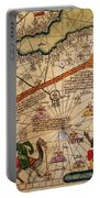 Catalan Map Of Europe And North Africa Charles V Of France In 1381  Portable Battery Charger by Abraham Cresques