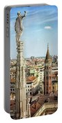 Cathedral And Campanile Milan Italy Portable Battery Charger