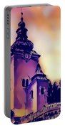 Catholic Church Building, Architectural Dominant Of The City, Graphic From Painting. Portable Battery Charger