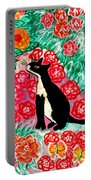 Cats And Roses Portable Battery Charger