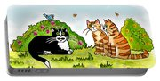 Cats Talking In A Sunny Garden Portable Battery Charger