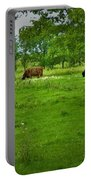 Cattle Grazing In A Lush Pasture Portable Battery Charger