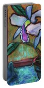 Cattleya Orchid And Frog By The Window Portable Battery Charger