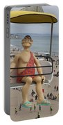 Caveman Above Beach Santa Cruz Boardwalk Portable Battery Charger