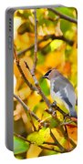 Cedar Waxwing In Autumn Leaves Portable Battery Charger