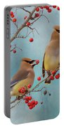 Cedar Waxwing Pair Portable Battery Charger
