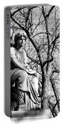 Cemetary Statue B-w Portable Battery Charger