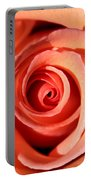 Center Of The Peach Rose Portable Battery Charger