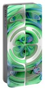 Cerulean Blue And Jade Abstract Collage Portable Battery Charger