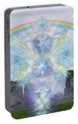 Chalice Over Stonehenge In Flower Of Life Portable Battery Charger