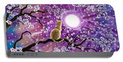 Champagne Tabby Cat In Cherry Blossoms Portable Battery Charger