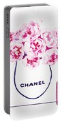 Chanel Bag With Pink Peonys Portable Battery Charger