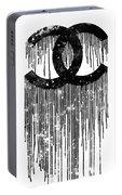 Chanel Logo Black White 1 Portable Battery Charger