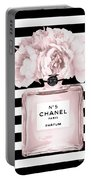 Chanel N.5, Black And White Stripes Portable Battery Charger