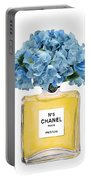 Chanel Perfume Nr 5 With Blue Hydragenias  Portable Battery Charger
