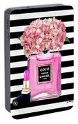 Chanel Poster Pink Perfume Hydrangea Print Portable Battery Charger