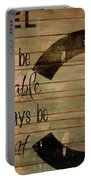 Chanel Wood Panel Rustic Quote Portable Battery Charger