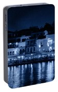 Chania By Night In Blue Portable Battery Charger