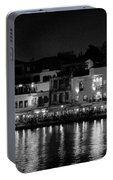 Chania By Night In Bw Portable Battery Charger