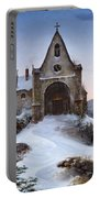 Chapel On A Mountain In Winter Portable Battery Charger