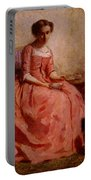 Chaplin Charles Girl In A Pink Dress Reading With A Dog Portable Battery Charger