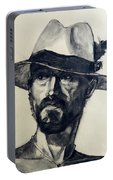 Charcoal Portrait Of A Man Wearing A Summer Hat Portable Battery Charger