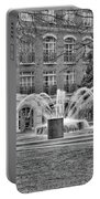 Charleston Waterfront Park Fountain Black And White Portable Battery Charger