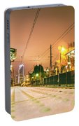 Charlotte City Skyline Night Scene With Light Rail System Lynx T Portable Battery Charger