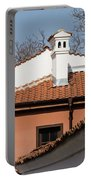 Charming Chimneys - White Stucco And Terracotta Juxtaposition Portable Battery Charger