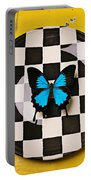 Checker Plate And Blue Butterfly Portable Battery Charger