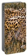Cheetah In The Grass Portable Battery Charger