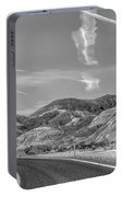 Chem Trails Over Valley Of Fire Black White  Portable Battery Charger