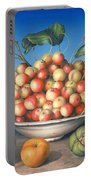 Cherries In Delft Bowl With Red And Yellow Apple Portable Battery Charger