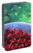 Cherries On A Blue Plate Portable Battery Charger