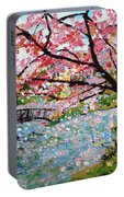 Cherry Blossoms And Bridge 3 201730 Portable Battery Charger