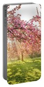 Cherry Flowers Garden Illuminated With Sunrise Beams Portable Battery Charger