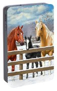 Chestnut Appaloosa Palomino Pinto Black Foal Horses In Snow Portable Battery Charger by Crista Forest