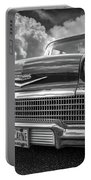 Chevrolet Biscayne 1958 In Black And White Portable Battery Charger
