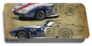 Chevrolet Corvette Convertible L88 1968,original Fast Race Car. Two Drawings, One Print Portable Battery Charger