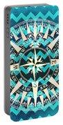 Chevron Print Compass Blue Portable Battery Charger