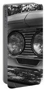 Chevy Corvair Headights And Bumper Black And White Portable Battery Charger